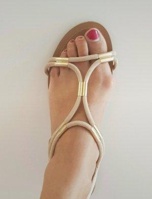 Aldo Sandalias de tacón de tiras color rosa dorado-marrón claro