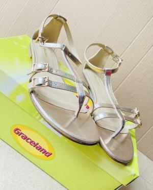Graceland Sandalo toe-post oro Pelle