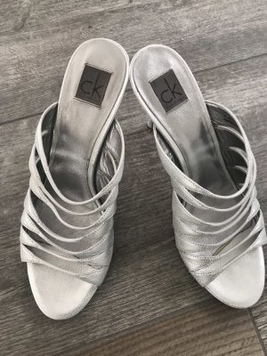 Calvin Klein Strapped High-Heeled Sandals silver-colored