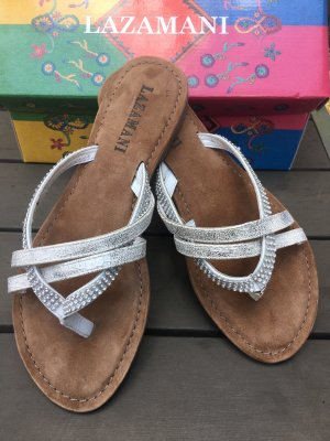 Lazamani Toe-Post sandals silver-colored-brown