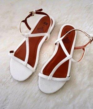 H&M Sandalias de tacón de tiras blanco