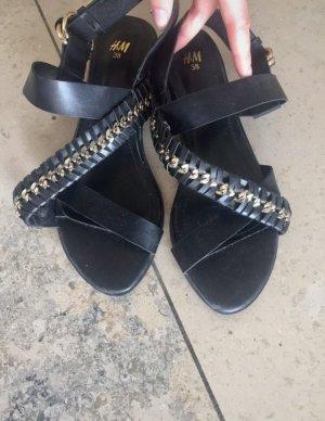 H&M Sandalo con cinturino nero-oro