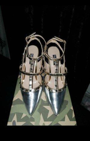 Sandalen High Heel Pumps mit Nieten in Silber
