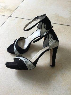 Sandalen Highheels schwarz/weiß/silber