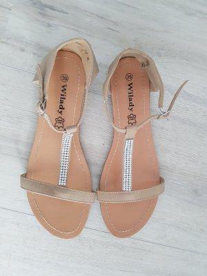 Sandalen in beige mit Glitzersteinen