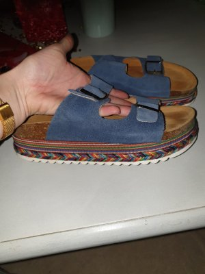 Platform High-Heeled Sandal dark grey-cornflower blue