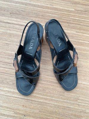 Prada Strapped Sandals black-light brown leather