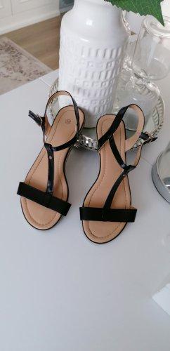 Sandalen Kunstlackleder Schwarz Riemchen