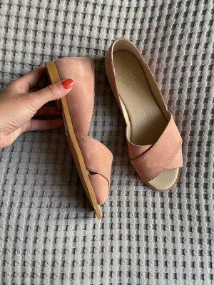 Kauf Dich Glücklich Peep Toe ballerina's roségoud Leer