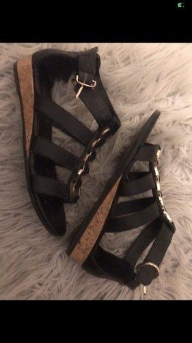 Romeinse sandalen zwart-goud