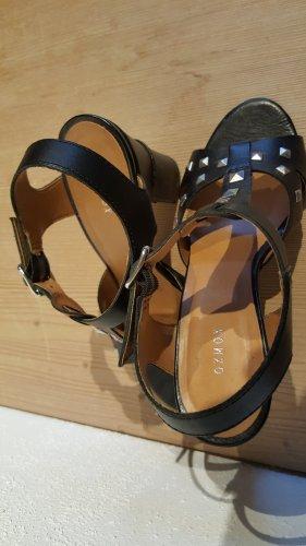 Oxmox Sandales à talons hauts et lanière noir cuir