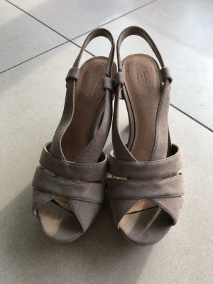 5th Avenue Sandales à plateforme gris brun cuir