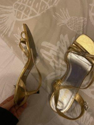 Sandalias de tacón alto color oro-color plata