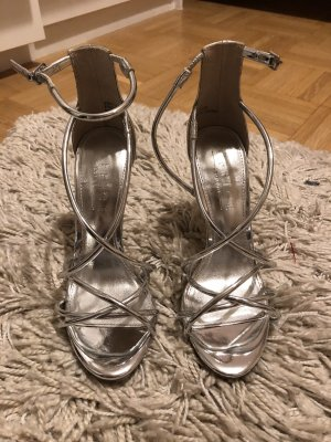 Effect Strapped High-Heeled Sandals silver-colored