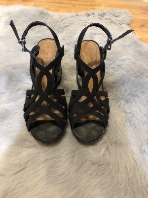 Sandalen mit Absatz schwarzblau 37
