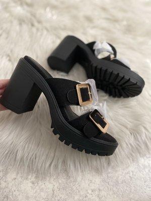 Sandalen mit Blockabsatz in schwarz gold Neu gr. 38
