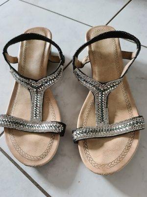 Sandalen met bandjes en hoge hakken zwart-zilver