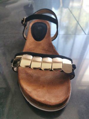 Sandalo comodo nero-oro