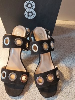 -8- Venice Strapped High-Heeled Sandals black-silver-colored suede