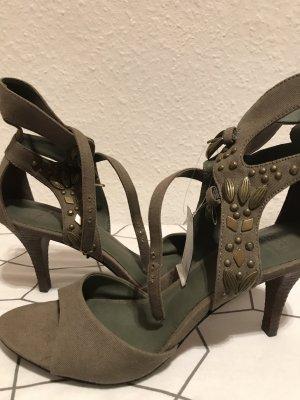 Sandalen mit Nieten Khaki