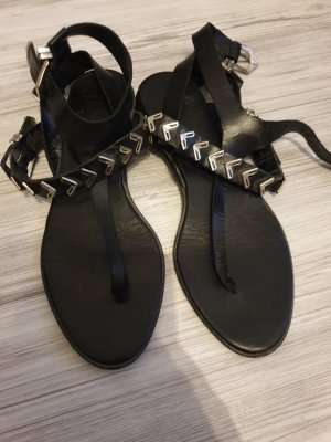 Zara Woman High-Heeled Toe-Post Sandals black-silver-colored