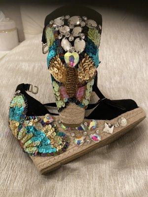 Sandalen mit strass schwarz gr40