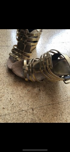 Sandalen neu mit Plateau Absatz Gold