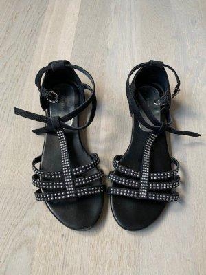 Sandalen Sandaletten Gr. 38 schwarz flach Glitzer wie neu
