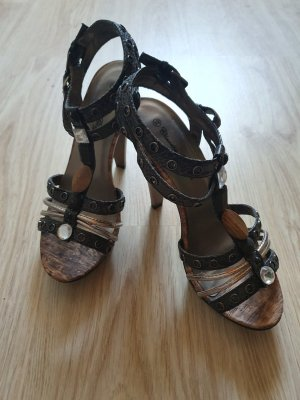 Sandalen / Sandaletten / High-Heels / Plateau / Schlangenlederoptik