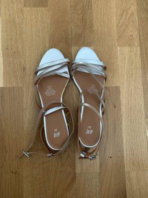 Sandalen Sandaletten Riemchenschuhe Silber Leder Kork Keilabsätze