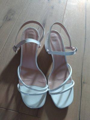 Sandalen Sandaletten weiß Lack Pumps Highheels Riemchen