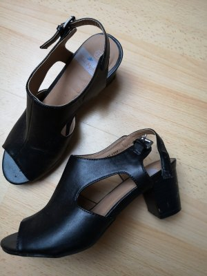 Blue Motion Sandały na obcasie z rzemykami czarny