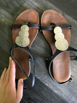 Sandalen schwarz Gold