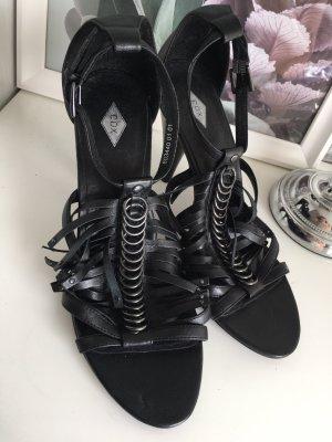 Sandalen Schwarz Heels Nieten Leder sattes Schwarz glänzend