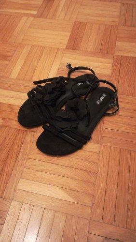 Sandalen schwarz mit Blumen