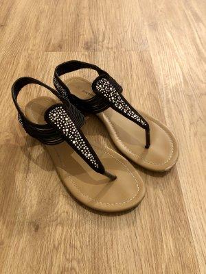 Sandalen schwarz mit Glitzer