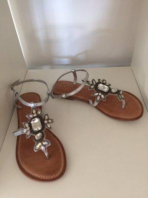 Sandały japonki srebrny Skóra