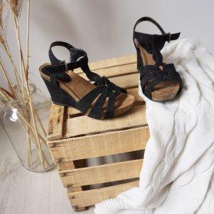 Sandalen Sommerschuhe Absatz Keil Sandaletten schwarz bequem