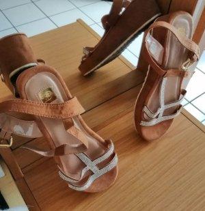 Sandalen Sommerschuhe flache Schuhe Strass Keilabsatz