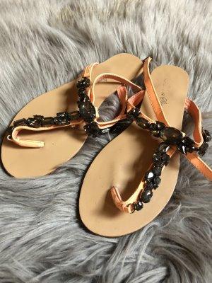 Sandalias con talón descubierto naranja neón-negro