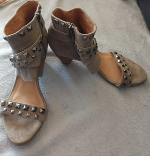 5th Avenue Peep Toe Booties light brown-olive green