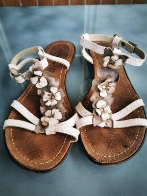 Sandales à lanière blanc-gris tissu mixte