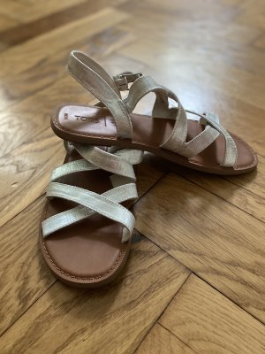 Toms Strapped Sandals brown-silver-colored