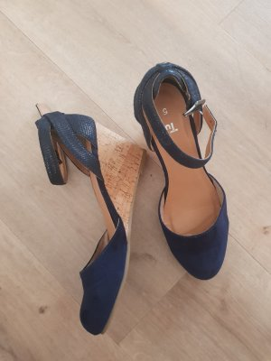 Plateauzool pumps donkerblauw