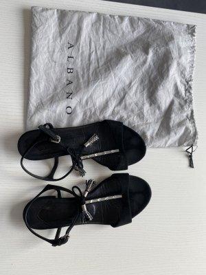 Albano Plateauzool sandalen zwart-zilver