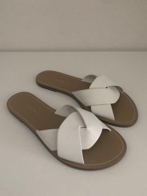 Bershka Sandały z rzemykami biały-jasnobrązowy