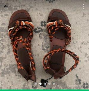 Bronx Sandalias de tacón con talón descubierto marrón oscuro-naranja oscuro