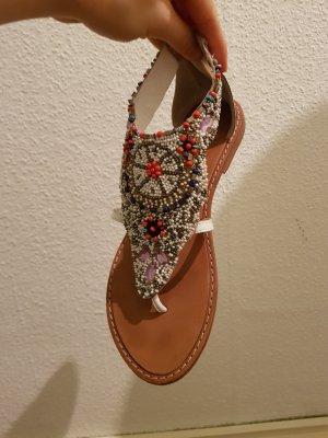 Sandalen von EDEN Gr.40 Volleder weiß/rot Perlen