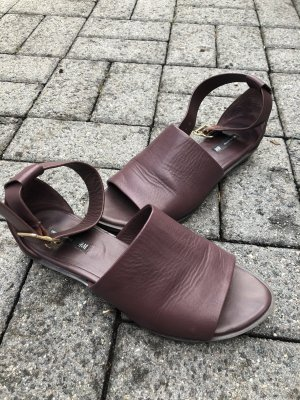 H&M Premium Strapped Sandals blackberry-red-bordeaux leather