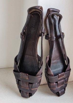 MiuMiu Sandalias romanas marrón-rojo amarronado Cuero